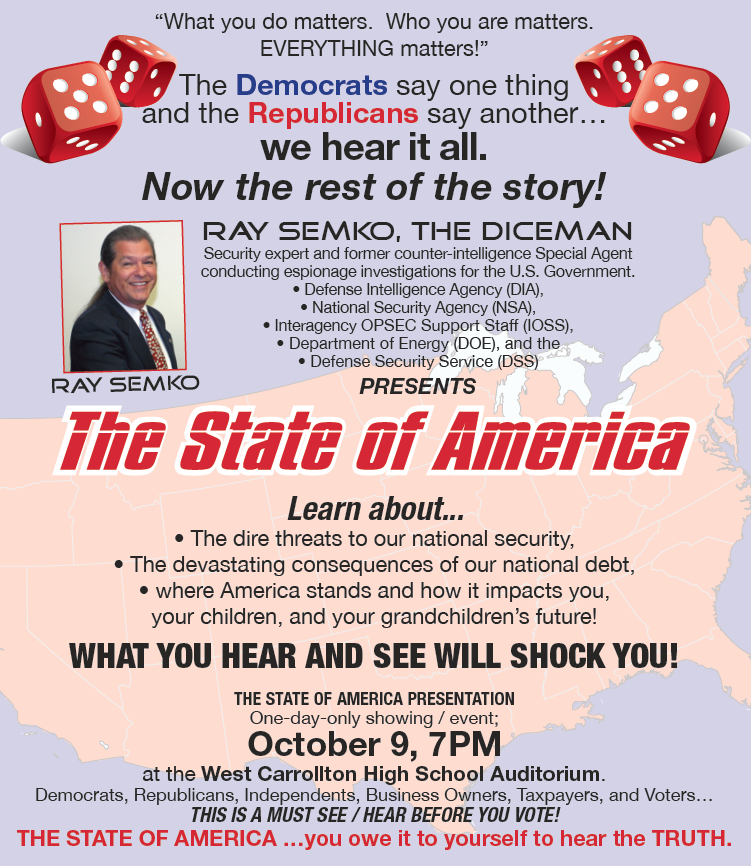 "Special DICE Briefing Open to the Public: ""The State of America"" – October 9"